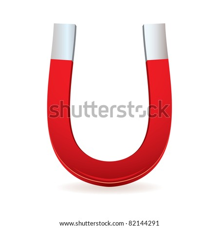 Illustrated red magnet with horseshoe shape - stock vector