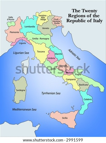 Illustrated Regional Map of Italy - stock vector
