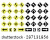Illustrated Road Signs with Directions on a white background - stock vector