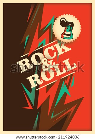 Illustrated rock and roll poster with abstraction. Vector illustration. - stock vector
