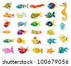 Illustrated set of marine animal cartoons - stock vector
