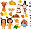 Illustrated set of thanksgiving icons - stock vector