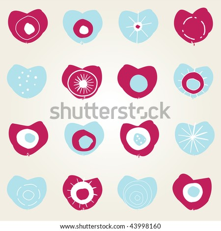 Illustrated simple valentine card design with pink and blue hearts - stock vector