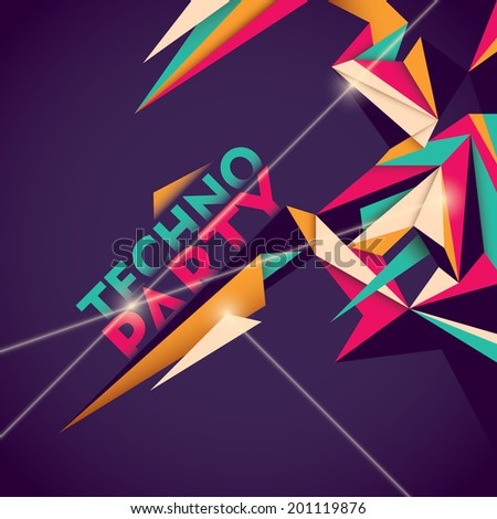 Illustrated techno party background. Vector illustration. - stock vector