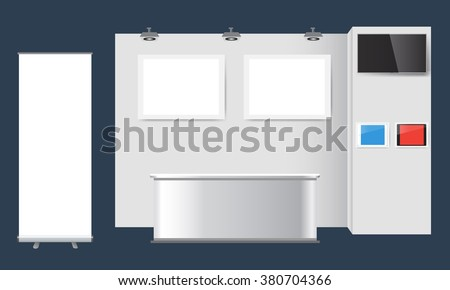 Illustrated unique creative exhibition stand display design. Booth template. Corporate identity. Vector Mock-up - stock vector