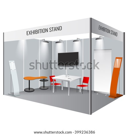 Illustrated unique creative exhibition stand display design with table and chair, info board, roll up. Booth template. Corporate identity. Display Mock-up.  Vector Mock-up - stock vector