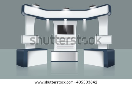 Illustrated unique creative exhibition stand display design with table. Trade Booth template. Corporate identity. Display Mock-up. Shelf and TV hanged on. Stand with Light beams. - stock vector