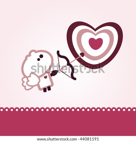 "Illustrated valentines card with ""Tiny Dude"" as Cupid - stock vector"