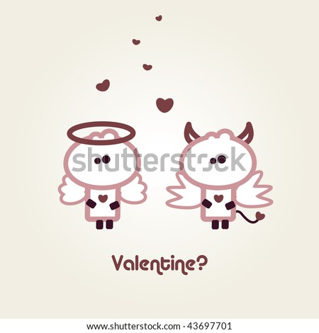 "Illustrated valentines card with ""Tiny Dude"" as Devil and Angel - stock vector"