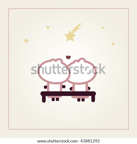 "Illustrated valentines card with ""Tiny Dude"" couple watching stars - stock vector"