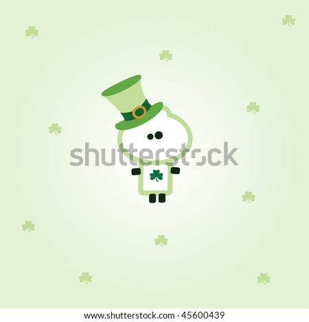 "Illustrated valentines card with ""Tiny Dude"" dressed up with hat for st. patricks day - stock vector"