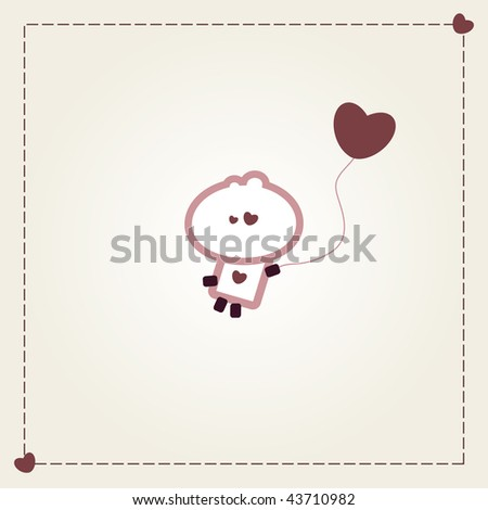 "Illustrated valentines card with ""Tiny Dude"" flying away with heart balloon - stock vector"