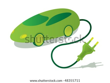 Illustrated vector eco electric car with plug - stock vector