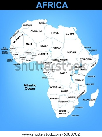 Illustrated vector map of Africa - stock vector
