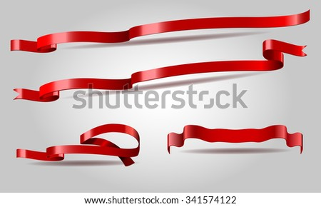 Illustrated vector set of red shining long and short curled ribbon banners with correct lighting effect for your design for sale info - stock vector