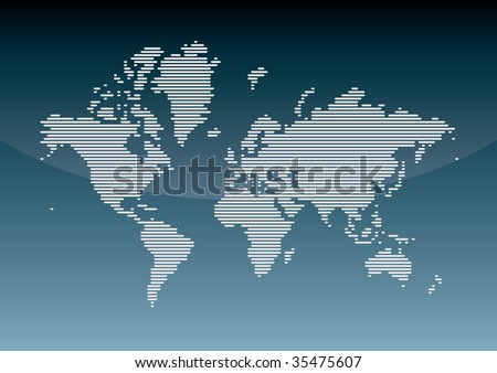 Illustrated world map - stock vector