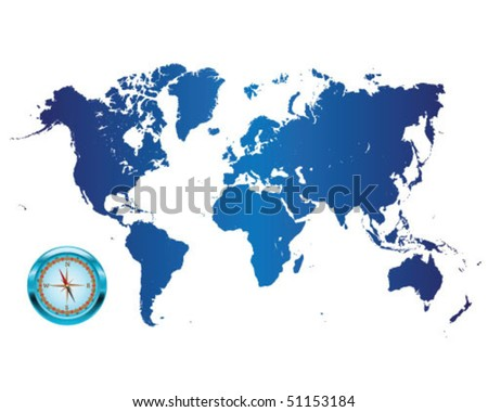 Illustrated world map with compass 2-vector