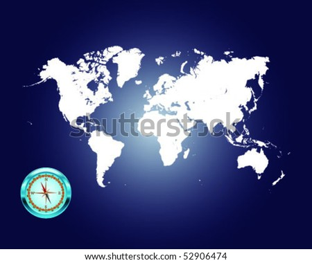 Illustrated world map with compass 6-vector