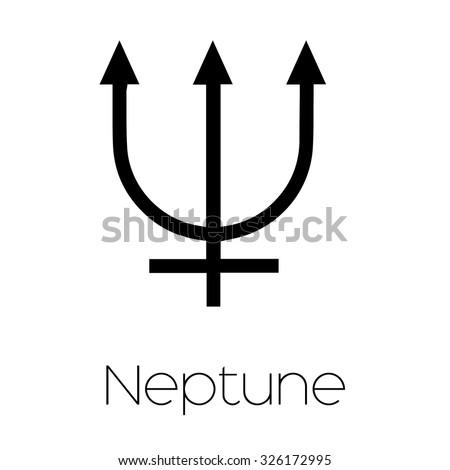 Illustrated Zodiac Symbol Neptune Stock Vector 326172995 Shutterstock