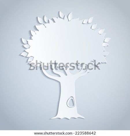 illustratiion of a white paper tree - stock vector