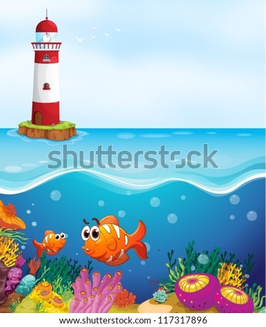 illustratio of a light house, fishes and coral in sea - stock vector