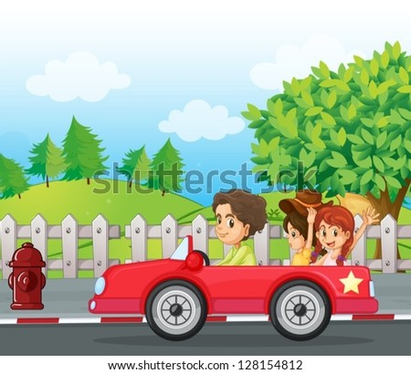 Illustratio of a young gentlemen driving a car with two ladies at the back - stock vector