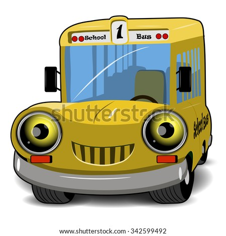 Illustration a cartoon cheerful yellow school bus - stock vector