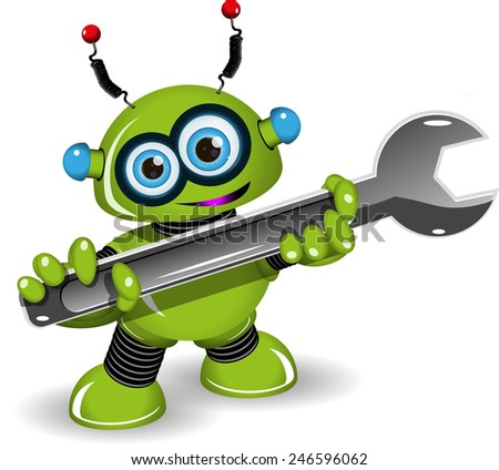 Illustration a cheerful green robot for repairs - stock vector