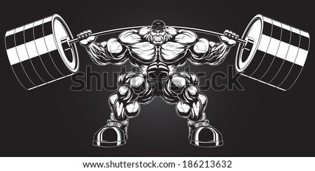 Illustration: a ferocious bodybuilder with a barbell - stock vector