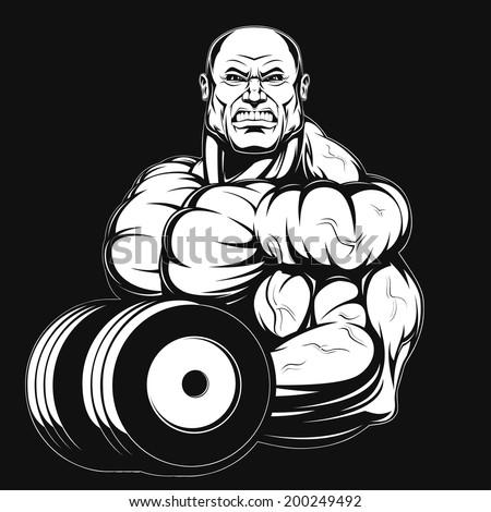 Illustration, a ferocious bodybuilder with dumbbell - stock vector