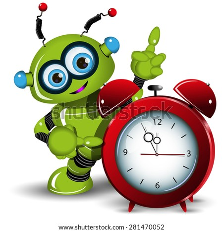 Illustration a green robot and alarm clock - stock vector