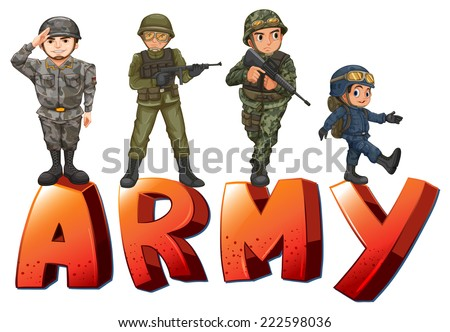 Illustration a many soldiers with guns - stock vector