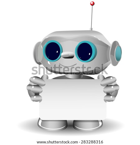Illustration a white robot and white background - stock vector