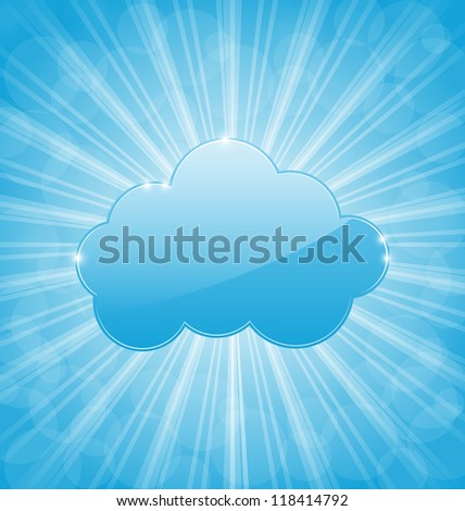 Illustration abstract background with cloud and show light rays - vector