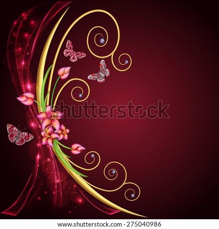 illustration abstract background with flowers and butterflies with gems - stock vector