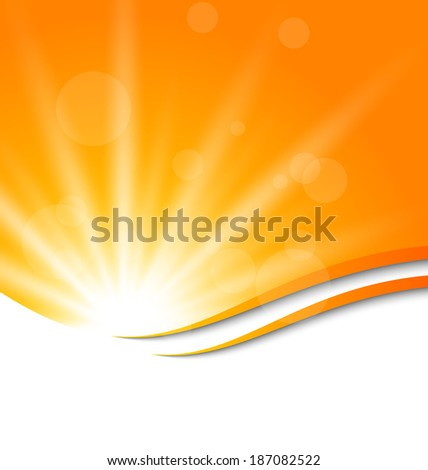 Illustration abstract orange background with sun light rays - vector - stock vector