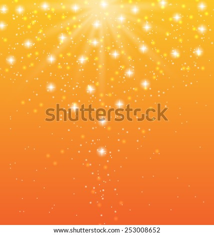 Illustration abstract orange background with sun rays and shiny stars - vector  - stock vector