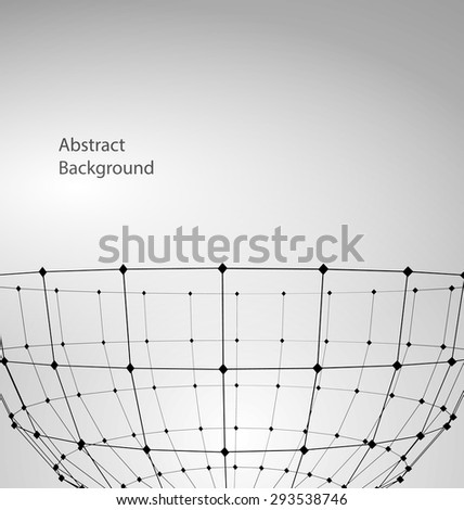 Illustration Abstract Particles of Circle with Mesh Polygonal Elements for Business Presentations - Vector - stock vector