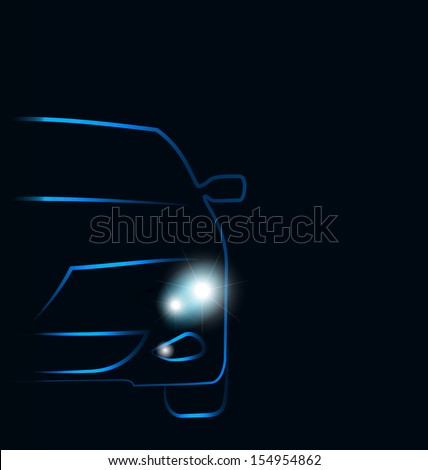 Illustration abstract sport car(profile) isolated on white background - vector - stock vector