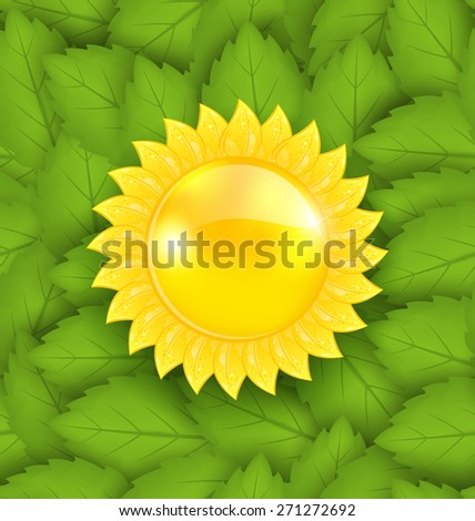 Illustration Abstract Sun on Green Leaves Seamless Texture, Eco Friendly Background - vector - stock vector