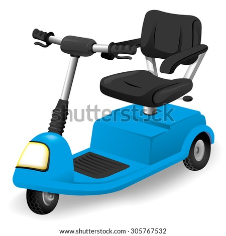 Illustration accessory wheelchair object, electric or motorized. Ideal for catalogs, informative and institutional