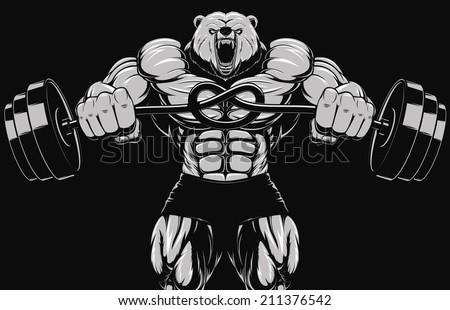 Illustration, angry bear head mascot - stock vector