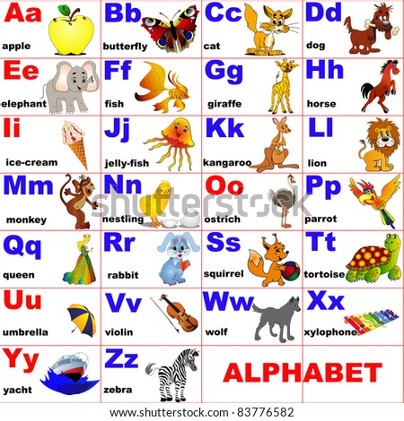 illustration animals placed on letter of the alphabet - stock vector