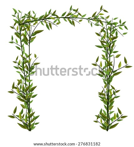 Illustration Arch Twined Bamboo Branch with Green Leafs isolated on white - vector - stock vector
