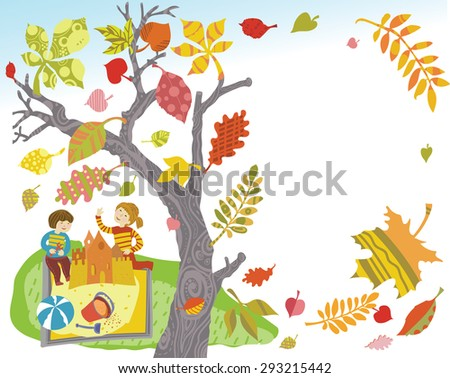 Illustration Autumn card with colorful decorative leaves and children - stock vector