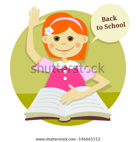 """illustration """"back to school"""". The girl in the classroom - stock vector"""
