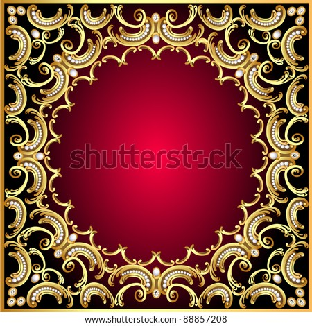 illustration background frame with pearl and gold(en) pattern - stock vector