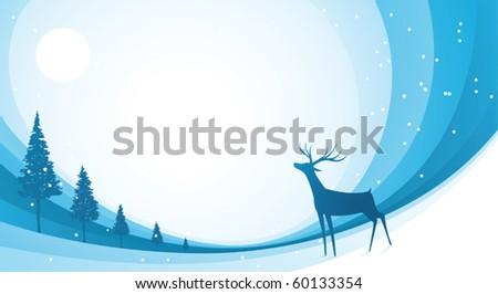 Illustration background of snow reindeer - stock vector