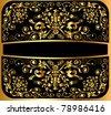 illustration background pattern gold on black - stock photo