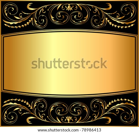 illustration background pattern gold on black - stock vector
